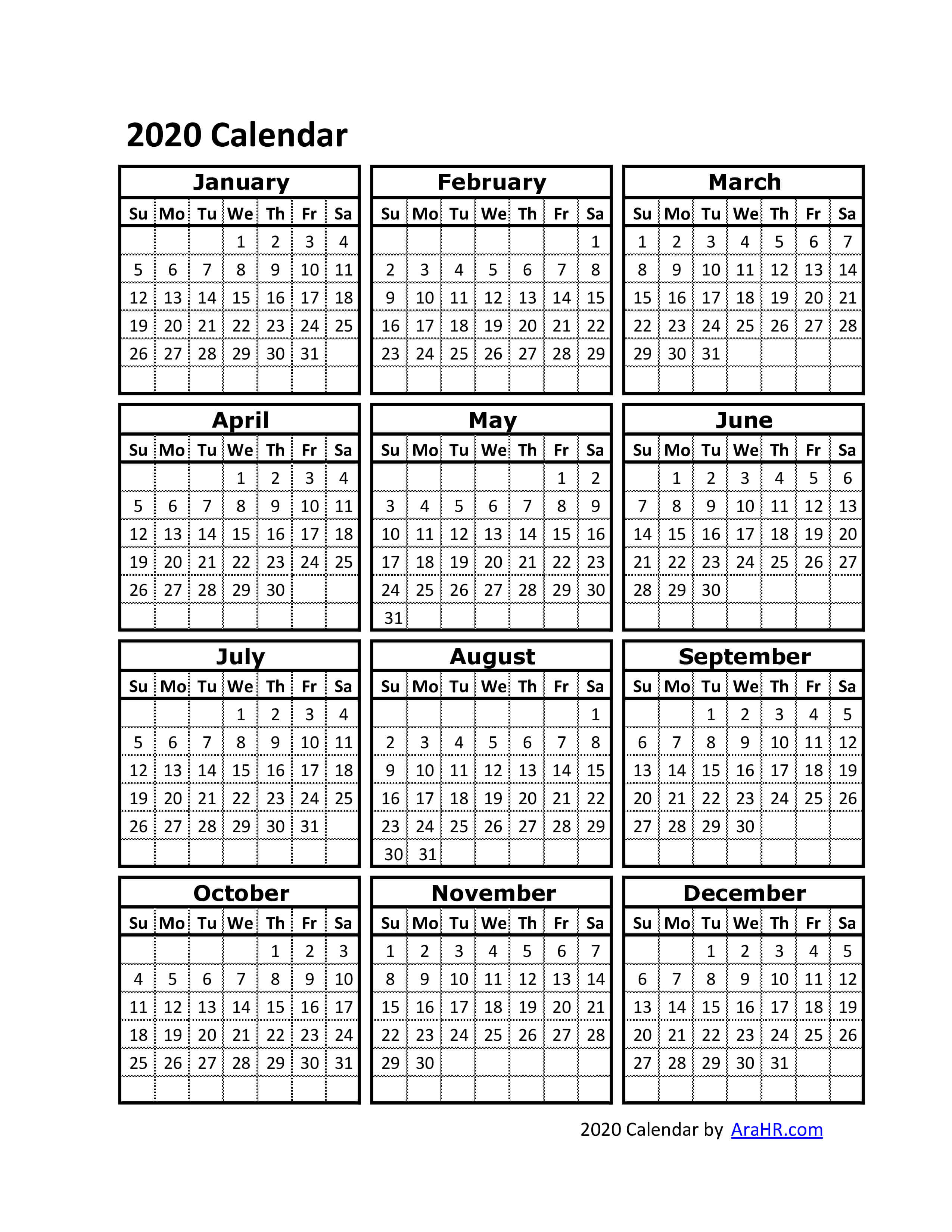 Printable 2020 Calendar One Page.2020 Calendar Yearly Monthly Free Printable