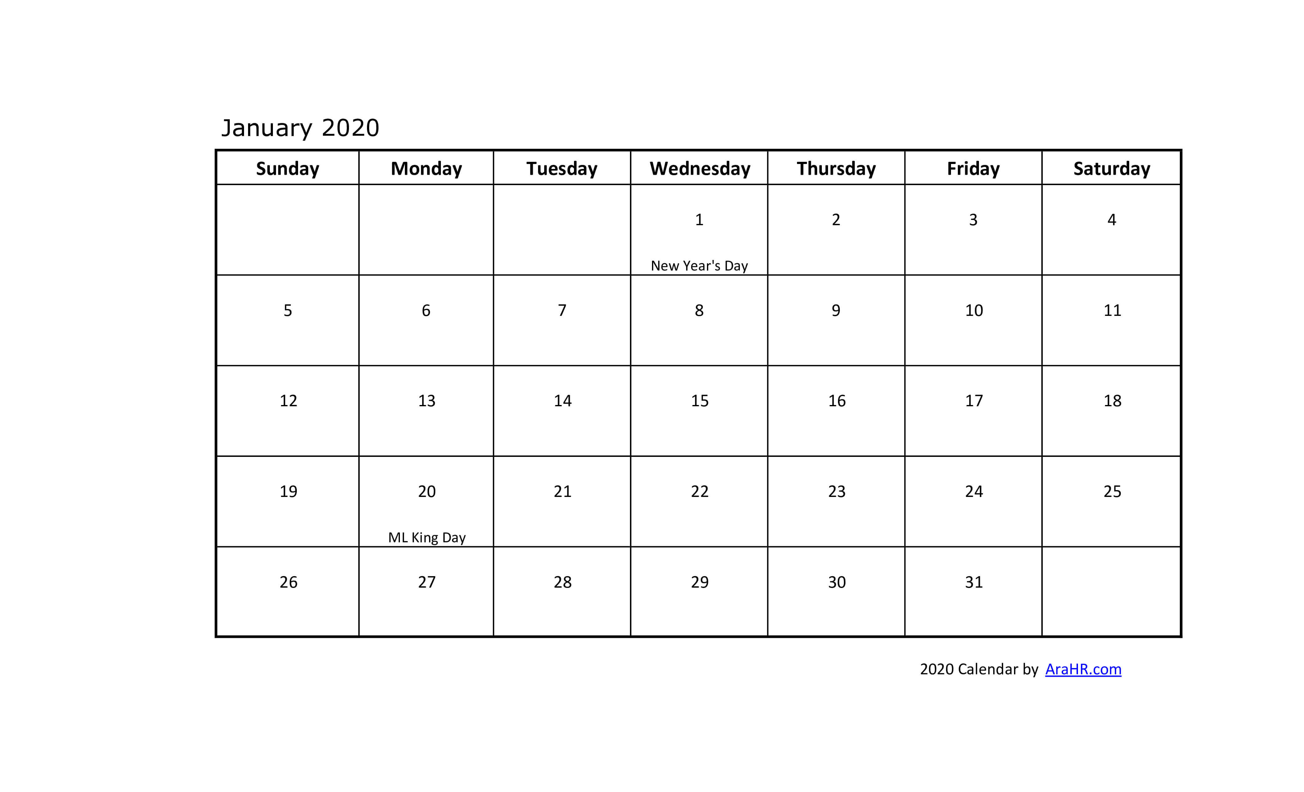 2020 Calendar Yearly Monthly Free Printable