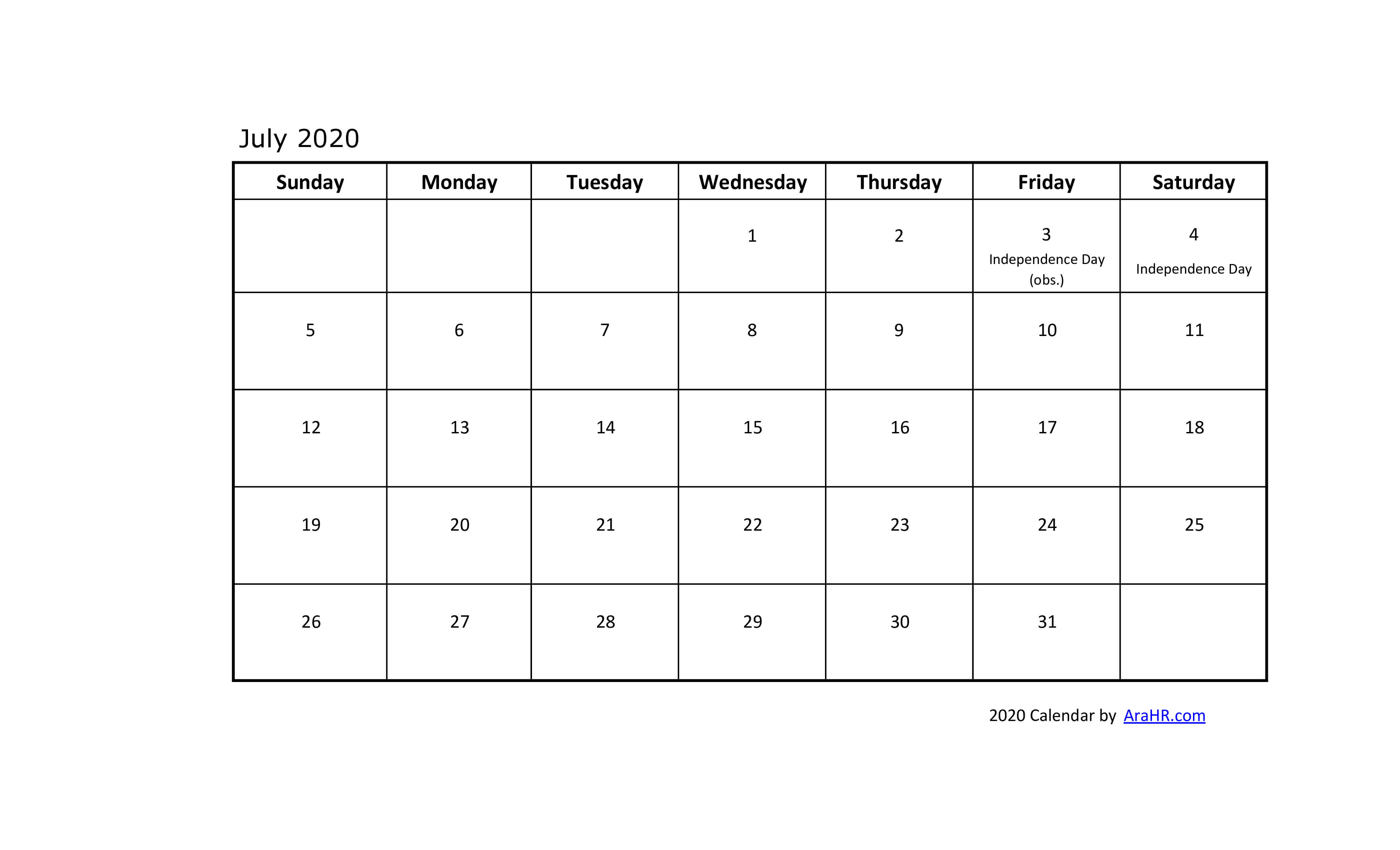 2020 calendar - yearly - monthly - free
