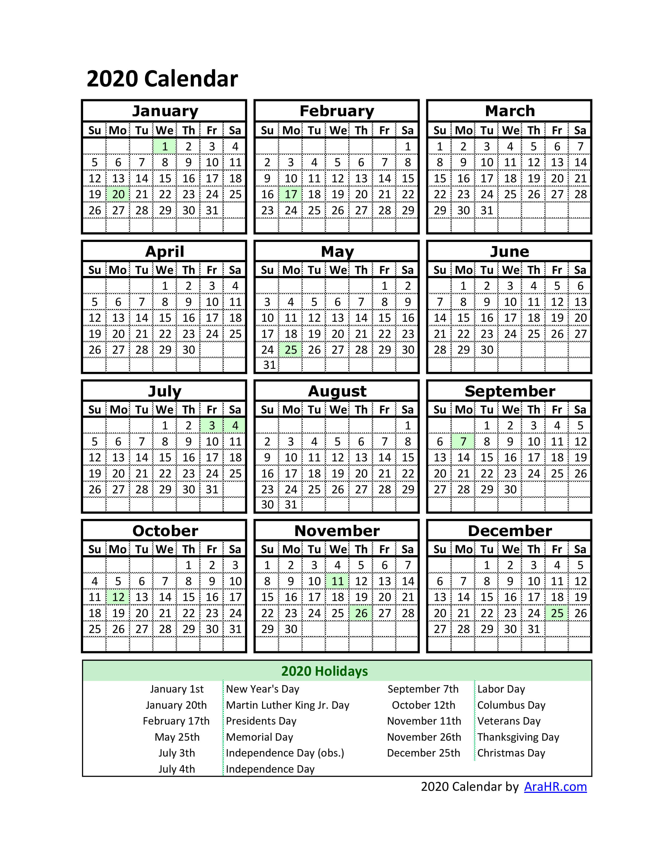 photo relating to Free Printable 2020 Calendar With Holidays called 2020 Printable calendar