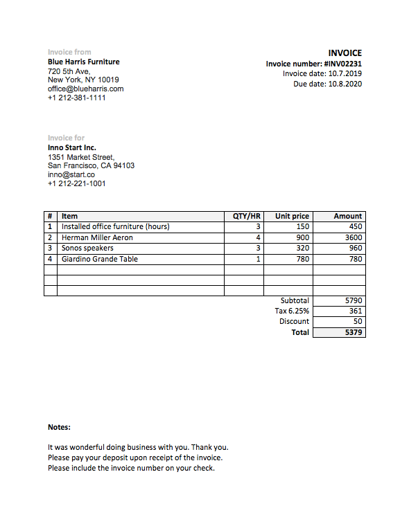 Free Work Invoice Template from arahr.com